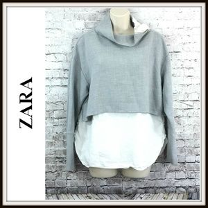 Zara Mixed Material Funnel Zipper Neck Shirt Top